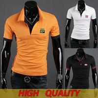 Men Cotton Polo 2014 World Cup Polo Shirt Tees Football Team Logo Embroidery Short Sleeve T-shirt Top 6 Colors M L XL XXL HAD0217