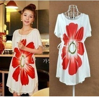 Wholesale New Summer Korean large Maternity Mommy Wear Big flower short sleeve Pregnant Women T shirt Dress Women Fashion Shirts Top New Summer HOT