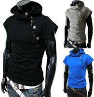 Wholesale 2014 new arrive Men s hoodie slim men s outwear short sleeve mens Sweatshirts black