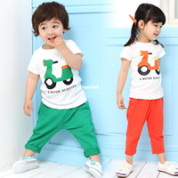 Unisex Spring / Autumn Short Hot-selling ! 2013 summer Children's Clothing baby boy girl kids fashion cotton two colors casual sports twinset