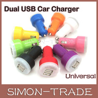 Wholesale colorful Port Dual Mini USB Car Charger Adapter A Bullet Car Charger for iphone S iphone G Samsung HTC ipad