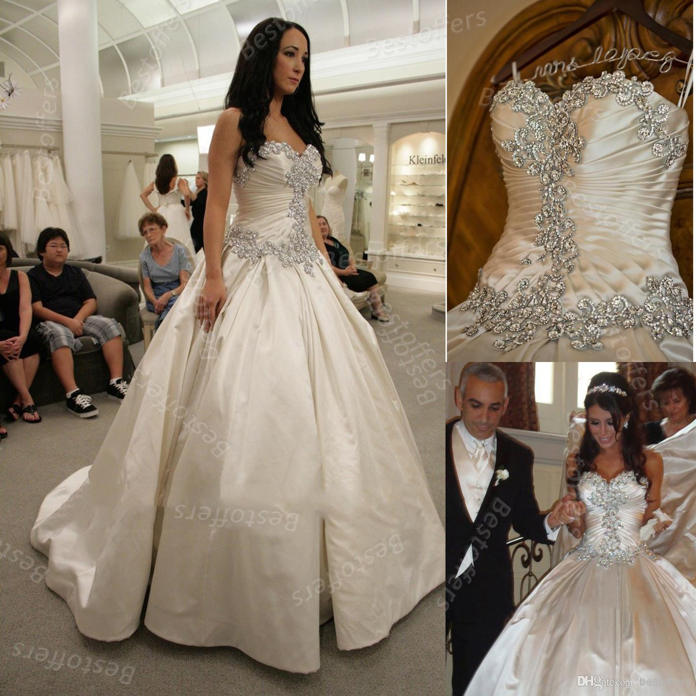 2014 Gorgeous Satin Ball Gown Wedding Dresses Sweetheart