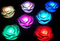 Wholesale 7 Changing mixed Color LED Floating Rose Flower Candle lights Wedding Party Festival decoration light gift