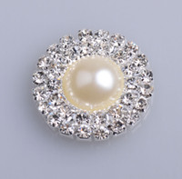 Wholesale Double Row Pearl Buttons Flat Back Rhinestone Emellishment Used On Invitation Card mm Silver Color