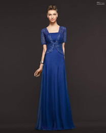 2014 Best-selling Retro Sexy A-line Strapless Royal Blue Chiffon Jacket Draped Sequin Floor length Mother Of The Bride Dresses