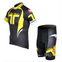Wholesale yellow castelli team racing bike clothing custom bike jersey bicycle wear shorts