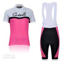 Wholesale pink castelli team cycling jerseys short sleeve wear bib pants women outdoor bicycle clothing