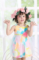 Wholesale 2014 Fshion Kids Wear Beige A Line Dress Gauze Fabric Summer Dresses Children Clothing Cheap and High Quality Clothes