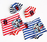Wholesale Hot Sale Summer Boys Navy Miki Striped With Hat Flat Foot Swim Trunks Kids Cartoon Short Pants Red Bule Trunks Children Stripeds Beach Wear