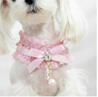 luxury pet products - 10PCS Luxury Pink Black Pet Products Dog Supplies Pet Charm Dog Lace Necklace Rhinestone Puppy Collar Cat Accessory