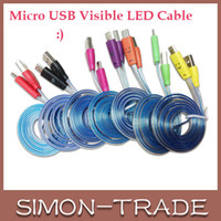 Wholesale Colorful LED Visible Micro USB V8 Charger Cable for Samsung Galaxy S4 Data Smile Color Light Up Flash Flowing M Flat Cords for Note