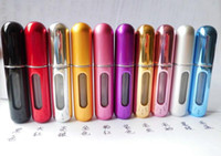 Wholesale ML aluminum portable spray bottle bottom filled with self pump type perfume sub bottle