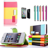 Wholesale MULTI COLOUR Stripe Wallet Card Holder Flip Stand Leather Case Cover for iPhone G S C S S3 S4 S5 NOTE case flim stylu