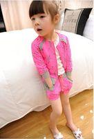 Girl Summer Three Quarter New Korea 2014 Summer Girls Zipper Sun Protechion Tops+Short Pants 2pcs Sets Kids Flowers Lace Jacket Shorts Outfit Chidren Clothes H0114