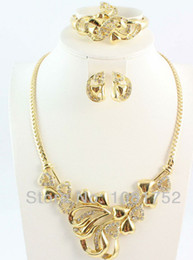 Free Shipping Hot 18K Gold Plated African Fashion Necklace Earring Ring Bangle Jewelry Set For Women