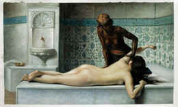 Wholesale The Massage in the Harem by Edouard Bernard Debat Ponsan Top Quality Islamic Wall Art Naked Women Painting H