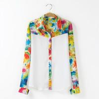 Wholesale Women Shirt Floral Printing Patchwork Turn down Collar Long Sleeve Women Clothing Chiffon Shirt S M L Shipping Free