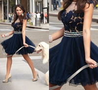 2014 Sheer Sparkling Modest Vestidos short prom dresses lace...