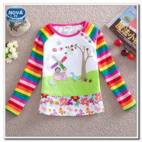 100 cotton white t shirt - Girl T shirt Baby Girl White Floral T shirt Long Sleeves t shirt for Girls Stripes Sleeves Cotton Children Clothes Nova F1411