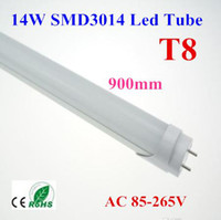 T8 14W SMD3014 10pcs SMD T8 Tube 14W 0.9m 3ft Milky Frosted-cover LED Tube Light Cool Warm White 85-265V 1800lm Replace Fluorescent Lamp Free shipping