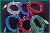Wholesale 2M Noodle Micro Usb2 Cables Colorful Sync Data Transfer and Charging Braid Cables For Samsung Cellphone up