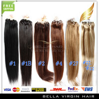 Wholesale Brazilian Virgin Hair quot Loop Micro Ring Hair Extensions b Silky Straight g strand g set Bellahair DHL