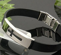 Wholesale NEW Energy silicone stainless cross bracelet Bracelet stainless bracelet