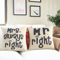 Wholesale cotton and linen home sofa pillow case Mr Right printed cushion cover gift cushion