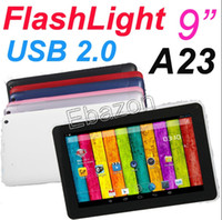 Wholesale 9 Inch with Flashlight USB Port Allwinner A23 Dual Core Tablet PC Screen Android GB Dual Camera GT91H MID White Black Pink Red
