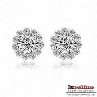 Wholesale Tiny Earring Studs Fashion Flower Shaped CZ Stone Earrings mm ct Swiss Cubic Zirconia Diamond Flower Earrings JS ER0033