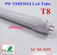 T8 9w SMD3014 50pcs SMD T8 Tube 9W 0.6m 2ft Milky Frosted-cover LED Tube Light Cool Warm White 85-265V 1800lm Replace Fluorescent Lamp Free shipping