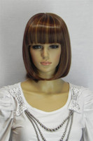 Dark Brown Natural Wave 25cm Free Shipping Short Hair 25cm 10inches Dark Brown Straight Wig Women Cosplay Wigs Cheap Full Lace Wig Glueless +Wig Cap