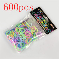 5-7 Years Multicolor Silicone 600 pcs Multicolor GLOW IN THE DARK rainbow refill loom rubber bands & S - Clips 100Set Lot
