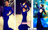 Wholesale 2014 New Arrival High Neck Long Sleeve Criss Cross Backless Royal Blue Evening Party Dresses Sexy Mermaid Prom Gowns