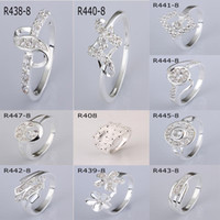 With Side Stones Women's Gift Multi Styles Mixed 925 Silver Mark Plated Sparkly CZ ZIRCON RINGS WOMEN RINGS JEWELRY 20PCS