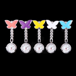 Wholesale Pocket Medical Nurse Fob Watches Clip on Pendant Hanging Quartz Clock Butterfly Shape Ladies Watch H10334