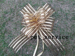 Wholesale 20Pieces cm Gold Organza Pull Bow Wedding Party Decoration Pull Bows Ribbons Wedding Bridal Xmas Decor Supplies Upick colors