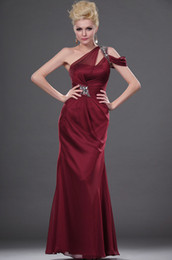 Wholesale Dark Red Sexy Sheath One Shoulder Sleeveless Fashion Mother Of The Bride Dresses Floor Length Zipper Back Beading Satin Mother Formal Gown