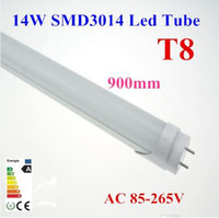 T8 14 SMD3014 50x Bright SMD T8 Tube 14W 0.9m 3ft ft Milky Frosted-cover LED Tube Light Cool Warm White 85-265V 1800lm Replace Fluorescent Lamp Free ship