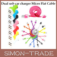 Wholesale Colorful in Charger Micro V8 USB Data Noodle Flat Cable Dual Port Mini USB Car Charger For Samsung Galaxy S2 S3 S3 Mini S4 Note