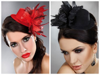 Wholesale Multi color Bridal Headdress Bride Jewelry Headdress Bridal Hair Accessories Flower Blending Small Hat Black Red Available Feather Hat