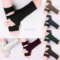 Wholesale 2014 New Women Winter Wool Knit Knitted Fingerless Gloves Mitten Hand Wrist Warmer fx257