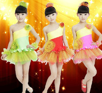 Wholesale Girls Large Flower Oblique Pompon Veil Dance Clothes Dress Children s Dancewear Performance Clothes Modern Ballet Latin Dance Stage Costume