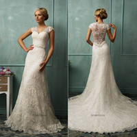 Wholesale 2014 Latest Amelia Sposa Wedding Dresses With V Neck Beads Cap Sleeve Sheer Back A Line Court Train Lace Hot Glamorous Ivory Bridal Gowns