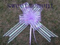 Wedding organza 100pieces 100pcs lot,5cm Lavender Organza Pull Bow Wedding Car Decoration Pull Flower Ribbons Bows Wedding Bridal Xmas Decor Supplies,Upick 9colors