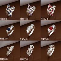 Wholesale Multi Styles Mixed Sterling Silver Sparkly CZ Zircon Rings Diamond Rhinestone Rings