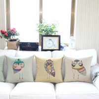 Wholesale cotton and linen home sofa pillow case cartoon owls printed cushion cover gift cushion