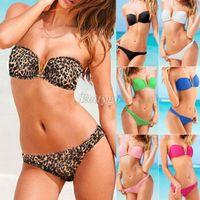 Wholesale Sexy Push Up Strapless V Wire Bandeau Top Bottom Bikini Set Swimsuit Swimwear nx94