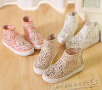 Wholesale EMS New Style Children s Casual Shoes Girls Shoes Sparkling Rhinestone Lace Hollow Shoes White Beige Pink Colors For Choose C2090