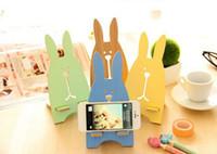 Wholesale 201404Q Fashion creative phone holder phone holder cute bunny wooden bracket Color sent at random